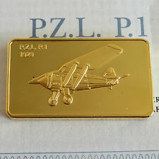 P.Z.L. P.1 GOLD PLATED PROOF INGOT - jane's medallic register