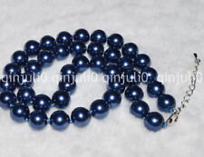 "BEAUTIFUL 10mm BLUE SOUTH SEA SHELL PEARL ROUND BEADS NECKLACE 18"" JN449"