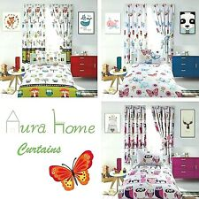 AuraHome ® Cotton-Rich Curtains Pair Lined, Pencil Pleat & Ties,Butterfly, Owl