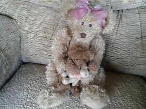 "Russ Berrie Marmie Trio Of Teddy Bears Mama Baby Toy Shaggy Plush Stuffed 15"""