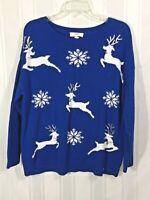 Unbranded Blue Women's Crew Neckline Reindeer Long Sleeve Knitted Sweater