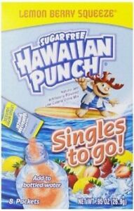 Pack of 10 BOXES Hawaiian Punch Singles To Go Drink Mix Lemon Berry 80 SINGLES