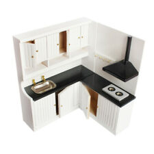 Miniature 1/12 Scale Dollhouse Kitchen Furniture Dining Room Toys White