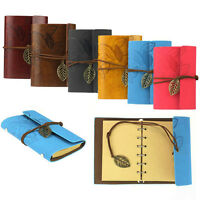 Vintage Leaf Leather Cover Loose Leaf Blank Notebook Journal Diary Gift Hoc