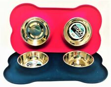 """Dog Flexi Bowl Duo Plate 2 Stainless Steel Bowl 14.5oz each (17""""x11""""x3""""H) Wetnoz"""