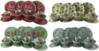 16 Piece Bamboo Eco Friendly Complete Plate Bowl Cup Set - Choice of 4 Designs