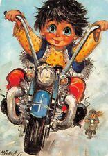 Carte Postale Poulbot,Gamin de Paris (Ballade en moto) Michel Thomas