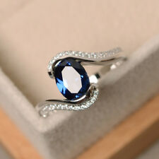 14K White Gold Rings 1.87 CT Oval Blue Sapphire Gemstone Diamond Ring Size O N P