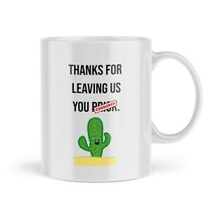 Funny Leaving Work Mug Thanks Cactus Prick Colleague Office Profanity Gift MLW12
