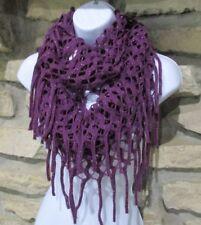 Infinity Scarf Machine Crochet Purple Fringe Acrylic Polyester Metallic One Size