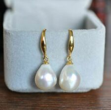 Pearl Earrings  South Sea Natural White Baroque 12-10mm 18K Gold Platted