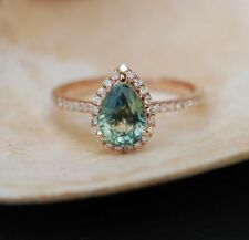 10K Rose Gold Plated Engagement Ring Teal Blue Green Sapphire Pear Cut Halo Ring