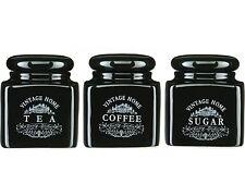 3 Piece Vintage Black Ceramic Tea Coffee Sugar Storage Jars Pots Canisters Set