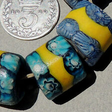6 old antique venetian cylindrical millefiori african trade beads #3171