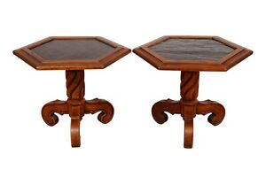 Traditional Slate Top Side Tables - a Pair
