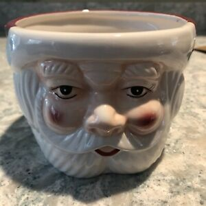 POTTERY BARN Santa Face Bowl Christmas NEW NIB Retro Style