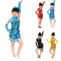 Girls Kids Latin Dresses Samba Salsa Dance Dress Dance Costumes Tutu Skirts S-L