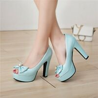Womens Bow Peep Toe Pumps High Heel Platform Simple Casual Summer Sandals Shoes