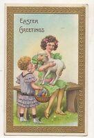 Easter Greetings, Cute Girl Holding Lamb, Sheep Eggs Vintage Easter Postcard