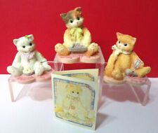 Miniature Calico Kittens Valentine Kitty Cats Lot of 3 Figurines w/Gift Card