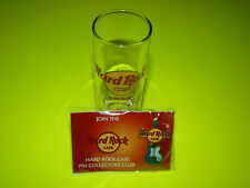 COLLECTIBLE HARD ROCK CAFE ROME DOUBLE-SHOT GLASS & ICON GREEN GUITAR PIN EUROPE