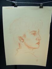Defiant Boy Profile Portrait Orange Pencil Sketch 1950 by C. Schattauer
