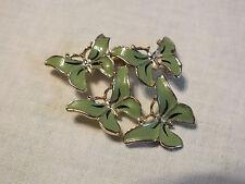 "Beautiful Brooch Pin Gold Tone Green Enamel Butterflies Signed MAMSELLE 2"" NICE"