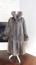 Gorgeous Russian Nutria Coypu Silver Brown Fur Coat with Fox Collar Cuffs M or L