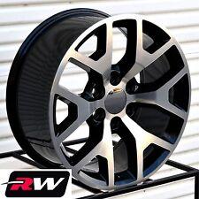"22"" inch Wheels for Chevy Tahoe 2014 2015 GMC Sierra Black Machined Rims 22x9"""