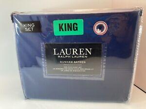 Ralph Lauren DUNHAM SATEEN Solid CADET BLUE 300 TC 4 piece KING SHEET SET - NEW