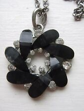 """Vintage Black & Sparkly Stone Flower Pendant and 26"""" Silver Tone Chain"""