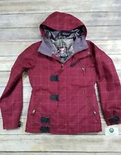 Burton Women's DryRide Dream Jacket Red Plaid Snowboard Insulated Coat Medium