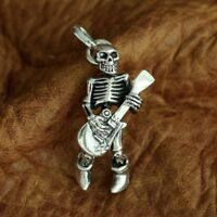 Guitar Skull 925 Sterling Silver Mens Biker Gothic Charm Pendant Necklace TA94B