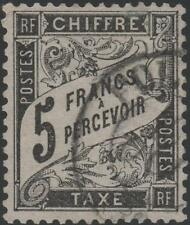 "FRANCE STAMP TIMBRE TAXE N° 24 "" TYPE DUVAL 5F NOIR "" OBLITERE SIGNE  J961"