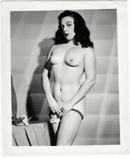 Nude Woman in Fishnet Stockings - 1950s vintage snapshot photo