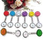 9 Colors Cute Smile Face Nurse Quartz Clip On Fob Brooch Pocket Watch Pendant