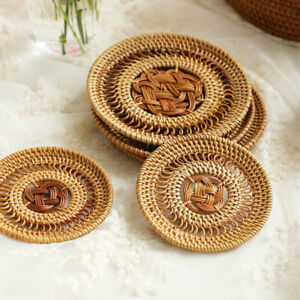 Handmade Rattan Placemat Coaster Kitchen Table Bowl Mat Durable Woven Placemats
