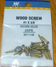 Walthers #947-1196  Brass or Brass-Plated Wood Screws (24 in pkg) -- #1; 3/8 x .