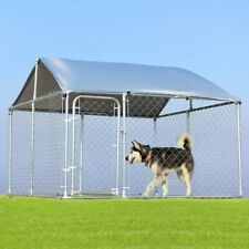 Dog Kennel Large Pet Run Cage 7.5' x 7.5' Outdoor Chain Link House Shade Cover