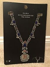 BNWT ZARA LONG TRIBAL ANTIQUE SILVER NECKLACE WITH BLUE AND RED ACCENTS 2016