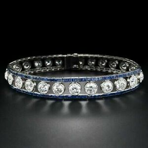 14k White Gold Plated Round-cut Blue Sapphire Invisible-set Womens Bracelet