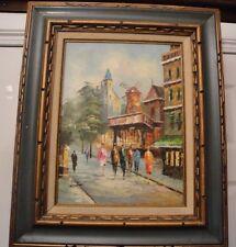 Original Painting Moulin Rouge Street Scene in Paris by Artist in Green Frame