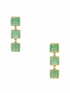 KATE SPADE NEW YORK PALM PEARLS FACETED LINEAR DROP EARRINGS CHALCEDONY GREEN
