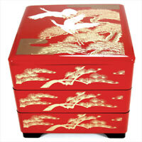 "Japanese Stack Bento Box Lunch Container 3 Tiers 7.5"" Red Lacquered Cranes Pine"