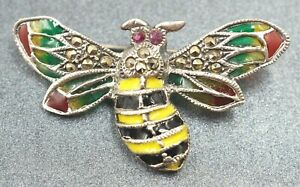 Ruby Marcasite & Enamel Bumble Bee Womens Brooch 925 Sterling Silver Jewelry