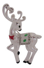 Brooch Secret Santa Holidays Pin Silver Plated Christmas Reindeer Deer