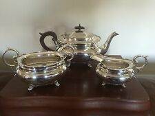 BEAUTIFUL 3 PIECE SILVER PLATED TEA SERVICE ALL ON 4 PAW FEET (REF 872) J D & S