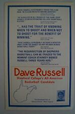 Vintage Basketball Press Kit Dave Russell All American Sheperd College 1974 1975