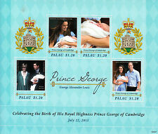 Palau 2013 MNH Birth Prince George Royal Baby 4v M/S William Kate Royalty Stamps