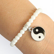 Round Crystal Yin Yang Charm Bracelet White Beads with Elastic Cord